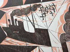"""Charles Shearer """"Block Ships"""" collograph (details) http://www.stjudesprints.co.uk/collections/charles-shearer/products/block-ships"""