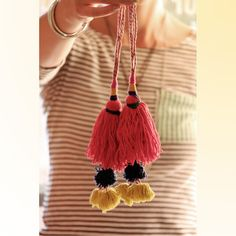 Put a Pom Pom on it / Hot Pink or Bright Red by WomanShopsWorld