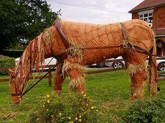 Horse scarecrow.
