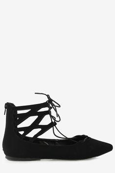 Lace Up Ballet Flats - Black