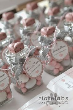 Cute DIY pink baptism favors for a girl.