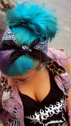 cotton candy blue with a purple streaked hair