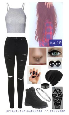 """""""...She's A Scar,She's The Bruises,She's The Pain That You Brought.There Was Life,There Was Love,Like A Light And It's Fading Out..."""" by fight-the-darkness ❤ liked on Polyvore featuring Coal, Glamorous, Topshop and Timberland"""