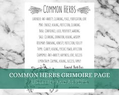 Common Herbs Printable Cheat Sheet, Grimoire Page, Book of Shadows Pages Witchcraft Herbs, Magick Book, Magick Spells, Green Witchcraft, Magic Herbs, Herbal Magic, Herb Meanings, Herbs For Energy, Herbs For Protection