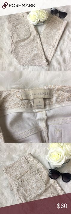 Chic Laura Ashley Pants A gorgeous pair of Laura Ashley ankle pants. These pants have stretch to them and are quality material! They feature a nude base color with light floral/paisley pattern overlay. Flawless, no holes or stains. Size 4. Measurements: lying flat waist 14inches/ rise 8inches/ hips 16inches/ side seam 34 inches. Laura Ashley Pants Skinny