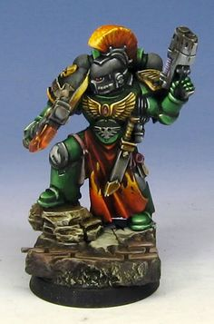 The Salamanders color scheme really involves some high contrast, complimentary colors. Warhammer Figures, Warhammer Paint, Warhammer Models, Warhammer 40k Miniatures, Warhammer 40000, Warhammer 40k Salamanders, Salamanders Space Marines, Warhammer 40k Tabletop, Miniaturas Warhammer 40k