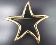 Vintage Signed GIVENCHY Paris New York Star Gold Tone Brooch Pin - Excellent!