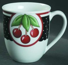 Mary Engelbreit Cherry Cameo at Replacements, Ltd. My everyday dishes I love! Cherry Farm, Cherry Tree, Cherry Delight, Coffee Cup Art, Painted Stools, Cherries Jubilee, Cherry Kitchen, Mary Engelbreit, Summer Kitchen