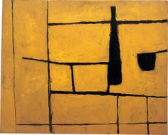Artwork of the Month - November 2016, William Scott, Black Bottle and Yellow, 1954, Oil on hardboard, 65 x 81.1 cm / 25½ x 32 in Private collection