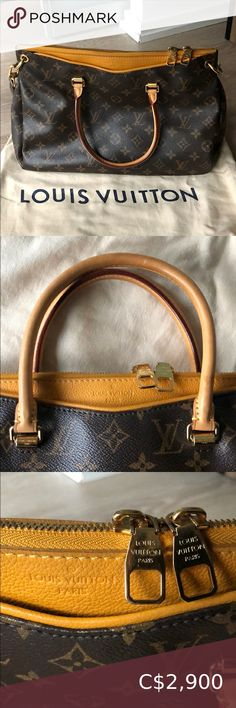 Louis Vuitton Pallas Bag MM in Safran Authentic LV Pallas Bag size MM in Safran accent Classic Monogram canvas Kept in excellent condition as I hardly used it, I find it's too big for my liking! Kept in bag and storage. 🔸now cost $3955 after taxes 🔸clean interior, no rips/tears/odor 🔸removable and adjustable strap 🔸two outside compartments and 2 inside pockets 🔸date code: SD5103 🔸comes with Dustbag 🔸size MM Louis Vuitton Bags Louis Vuitton Papillon, Louis Vuitton Alma Pm, Louis Vuitton Speedy 30, Vintage Louis Vuitton, Louis Vuitton Keychain, Louise Vuitton, Vuitton Bag, Shopper Tote, Monogram Canvas