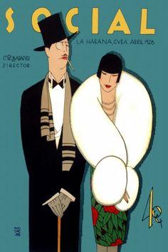 """Cuba.  Deco Poster """"Rich Elegant Couple"""", 1928 // Mink Fashion Carteles Cover Art"""