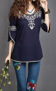 Ethnic Totem Pattern Embroidered Bordered Cotton Color Matching Blouse For Women