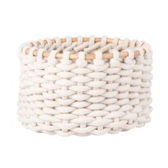 Crocheted Ivory Cotton and Rattan Basket | Maisons du Monde Decorative Storage Boxes, Small Storage, Storage Baskets, Coat Hanger Hooks, Nanu Nana, Sun Lounger Cushions, Bamboo Box, Parasols, Trunks And Chests