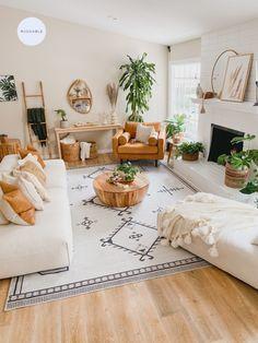 Boho Living Room, Home And Living, Living Room Decor With Plants, Cream Living Room Decor, Living Room Apartment, Bohemian Studio Apartment, Cozy Eclectic Living Room, White Couch Living Room, Earthy Living Room