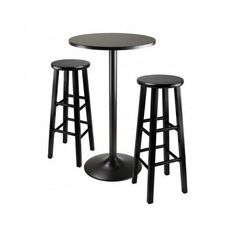 #ebay #Pub #Table #Set #Stools #Black #3Pc #Home #Indoor #Outdoor #Dining #Kitchen #Furniture #Bar