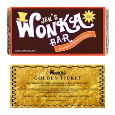 WONKA BAR customize Printable digital by TTLGphotoANDgraphics