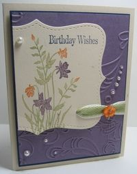 flowers on topnote, Move ribbon up and use for easel calendar card