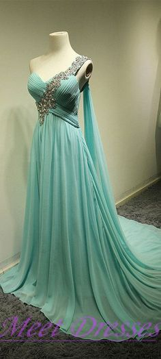 New Fashion Blue Prom Dresses Princess One Shoulder Dress Beaded Chiffon Prom Dress Modest Evening Gowns