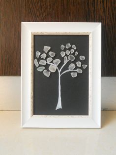 Tree made of sea glass. Framed wall art from the Gozo island, made with hand picked sea glass on a Mediterranean. Perfect for decorating special places like a home, an office, a studio or a patio.