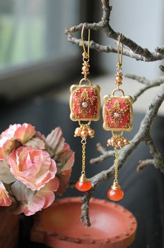 golden freshwater pearls, deep orange carnelian and polymer clay floral long dangle earrings - Tangerina Ballerina
