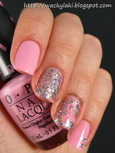 Wacky Laki breast cancer awareness  #nail #nails #nailart