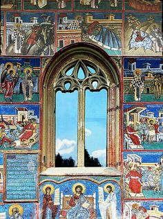 """Romania - This nice window belongs to the """"Voroneţ"""" basilica in Romania. The wonderful color of the facade matches with the blue of the sky reflected in the glass. Beautiful World, Beautiful Places, Little Paris, Les Religions, Famous Castles, Through The Window, Windows, Place Of Worship, Beautiful Buildings"""