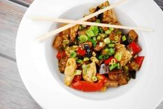 Chicken eggplant stir fry