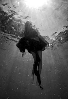 water, sunlight, mermaids, black and white photography