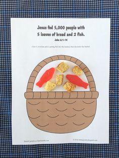 Jesus Feeds 5,000: Simple craft with free printout.