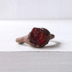 Valentine Red Opal Ring Gemstone Ring Birthstone Ring Gem Stone Ring Blood Red October Natural Raw Mineral Artisan