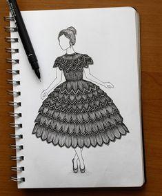 intrincado dibujo de una niña bailando con un vestido de encaje - komplizierte zeichnung eines mädchens tanzen mit einem spitzenkittel Doodle Art Drawing, Mandala Drawing, Zentangle Drawings, Mandala Sketch, Doodling Art, Cute Doodle Art, Design Art Drawing, Mandala Doodle, Doodle Sketch