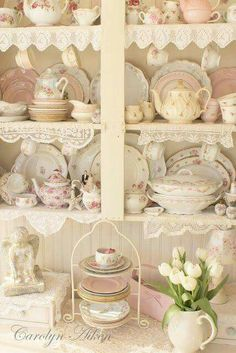 Shabby chic...the lace on the shelves.