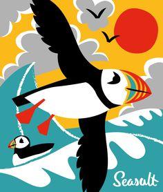Puffin by Matt Johnson for Seasalt Cornwall. Art Drawings For Kids, Animal Drawings, Puffins Bird, Cornwall, Bird Illustration, Cute Birds, Sea Birds, Fauna, Bird Design