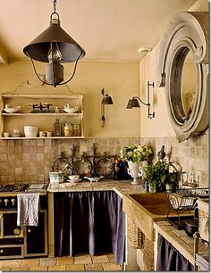 kitchen with cabinet-curtains
