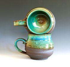 Pair of Large Coffee Mugs, handmade ceramic cups, ceramic stoneware mugs. $48.00, via Etsy.