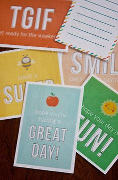 Tons of printable lunch box notes, lots of them free.