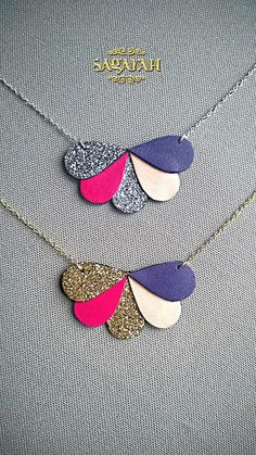 Ananta form leather necklace drop glitter by Sagarahbijoux on Etsy