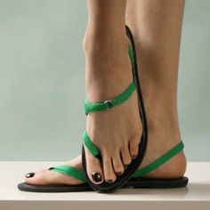 Mohop vegan interchangeable ribbon flats styled with 3/8 green ribbon tie