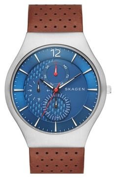 Skagen 'Grenen' Multifunction Leather Strap Watch, 41mm