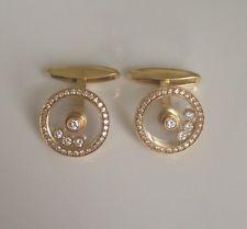 Chopard Happy Diamonds 18k Yellow Gold Cufflinks 100% Authentic