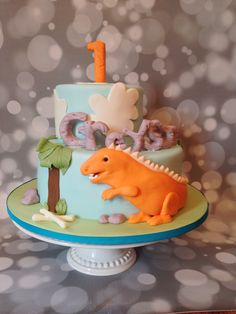 Dinosaur First Birthday Cake, by Amy Hart