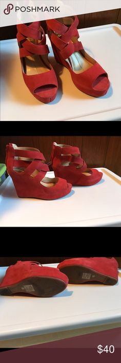"""Dolce vita red Sueded wedge heel Zip on the back, Wore only once just can't really wear high heels anymore. True to size 9.5.heel height is 4.5"""" Dolce Vita Shoes Wedges"""