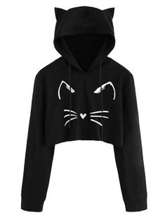 Women Casual Long Sleeve Cat Kitty Print Short Hoodies Blouse Pullover Autumn Cute Cat Ears Sweatshirts crop top hoodie for Girl Girls Fashion Clothes, Teen Fashion Outfits, Outfits For Teens, Style Clothes, Crop Top Hoodie, Crop Top Outfits, Cute Casual Outfits, Jugend Mode Outfits, Stylish Hoodies