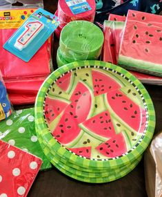 Dollar General party decorations. Watermelons for Hungry Caterpillar Theme!