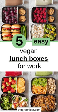 5 Easy Vegan Lunch Box Ideas for Work (Adult Bento) - Charlotte . - 5 Easy Vegan Lunch Box Ideas for Work (Adult Bento) These Easy Vegan Lunch Box Ideas for Work will give you a ton of inspiration for meal prep! Not just for adults. Vegetarian Meal Prep, Vegan Meal Plans, Healthy Meal Prep, Healthy Snacks, Vegetarian Recipes, Healthy Recipes, Vegetarian Lunch Ideas For Work, Vegan Snacks On The Go, Easy Vegetarian Lunch