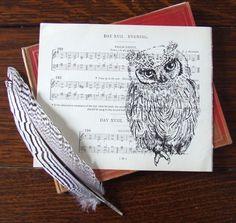 Evening Song Owl Gocco Print on Sheet Music.  via Etsy.
