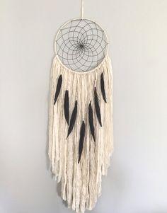 Capteur de rêves grand - grand blanc Dream Catcher avec des plumes de faisan noir