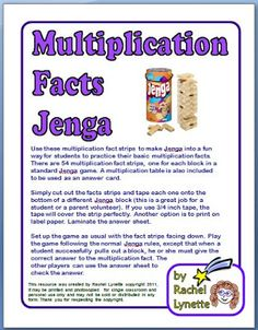 Free Jenga Multiplication and Addition Games | Minds in Bloom