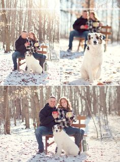 winter engagement photos with dogs…sub little black dog for the big white dog, a short brunette for the leggy blonde, and an asian for the white guy~