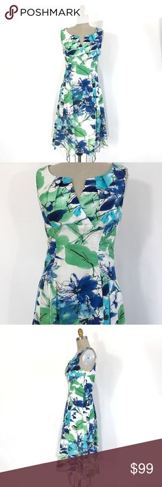 Adrianna Papell water color printed dress size 8 Beautiful flower printed dress   Ⓜ️size 8 (true to size) Ⓜ️chest 38-40 Ⓜ️Waist 31 Ⓜ️Length 41  Absolutely gorgeous feminine water color printed dress, gathered side waist detail, pleated full skirt style. invisible back zipper, 100% cotton, full underlining, new no flaws, no tags.  🔴No Trading 🙅🏻 ✅Bundle and save  ✅🚭 ❗️Poshmark rules only Adrianna Papell Dresses Midi
